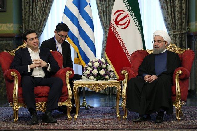 Alexis Tsipras y Hasán Rohani, reunidos en Teherán