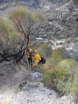 Imagen del incendio en Los Guájares (Granada)