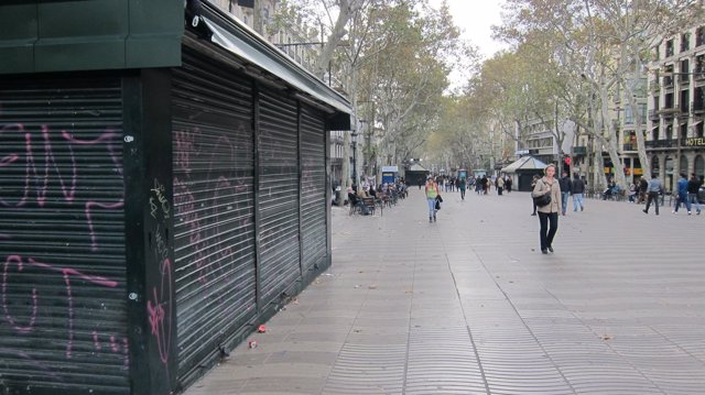 Ramblas Barcelona huelga general 14N del 2012