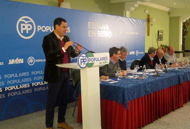 Juanma Moreno interviene en la junta directiva provincial del PP de Jaén.