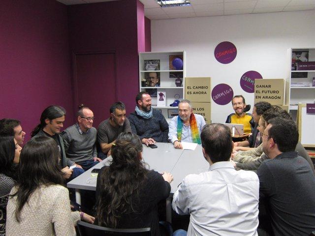 Reunión sobre el Ebro y la nueva cultura del agua en la sede de Podemos