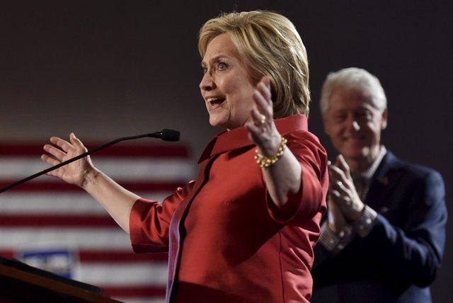 Hillary Clinton tras su victoria en las primarias en Nevada
