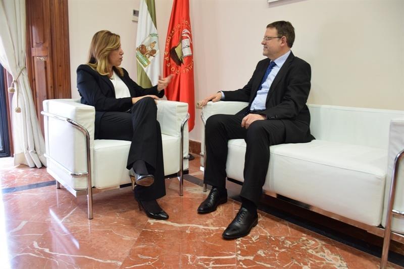 Ximo Puig y Susana Díaz en el Palau de la Generalitat