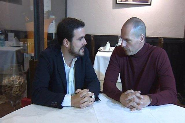 Alberto Garzón reunido con Yanis Varoufakis.