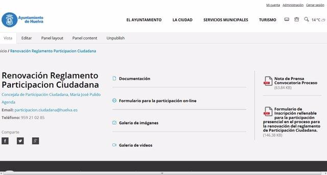 Nota Ayto Huelva 21.1.16 (Reglamento Participación Ciudadana)