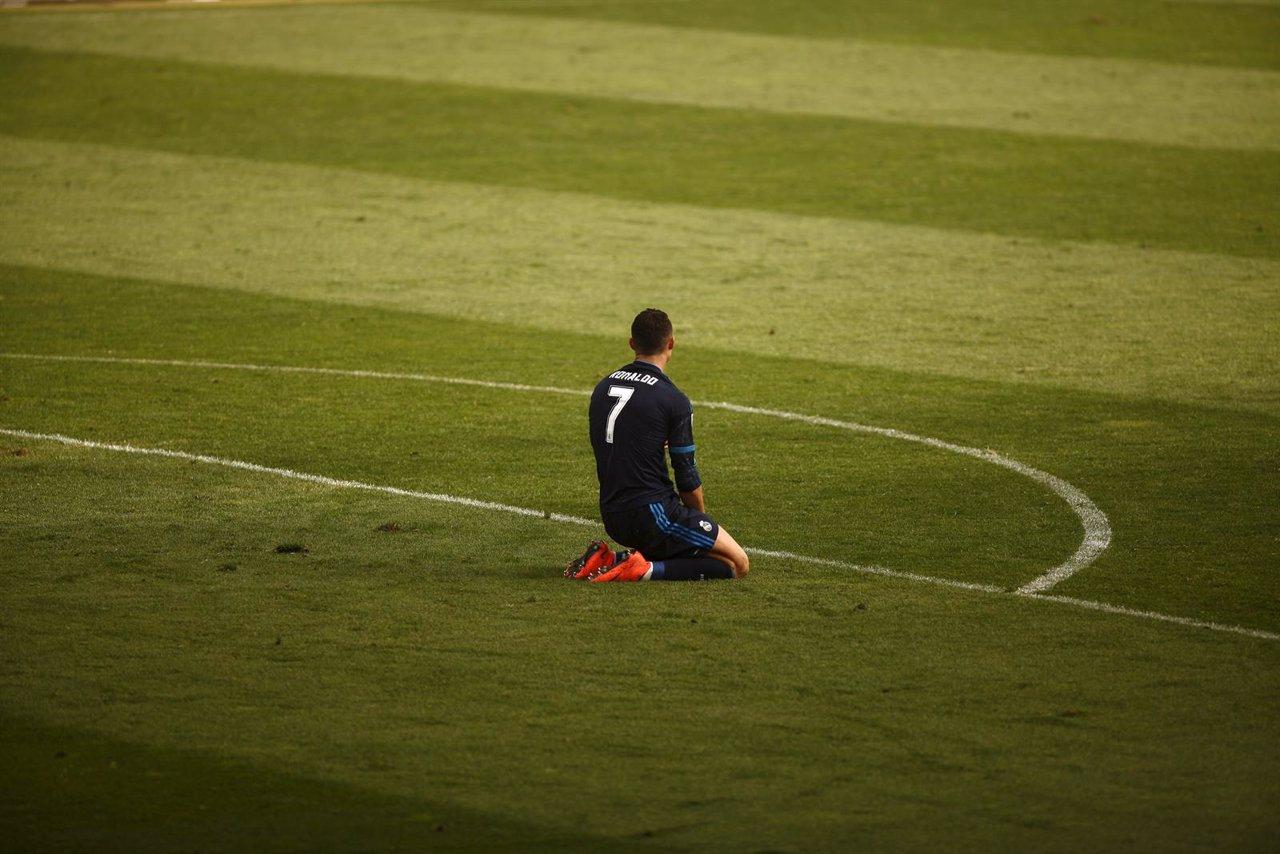 Cristiano Ronaldo se lamenta en el Málaga-Real Madrid