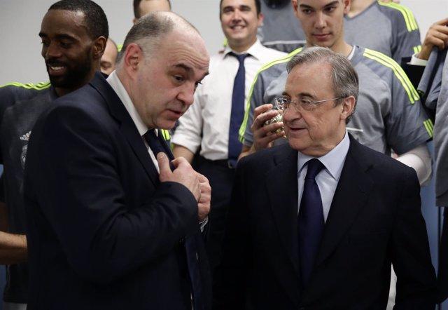 Pablo Laso y Florentino Pérez tras ganar la Copa en A Coruña