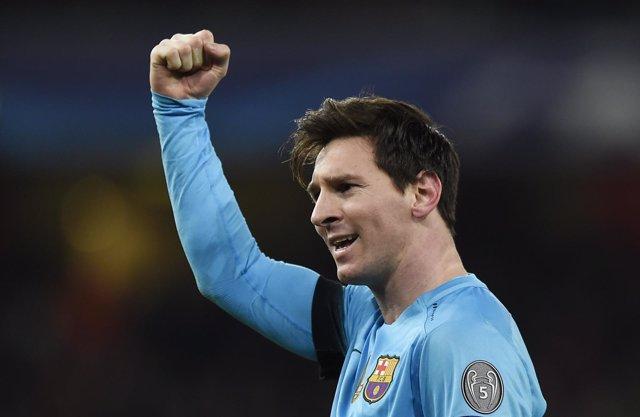 Lionel Messi tras ganar en el Emirates