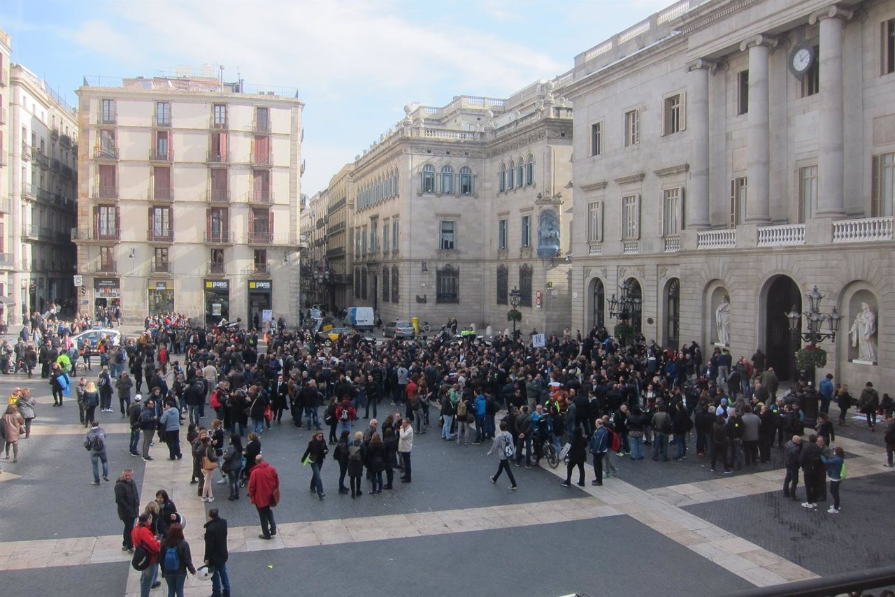 Manifestación de trabajadores de TMB en Barcelona
