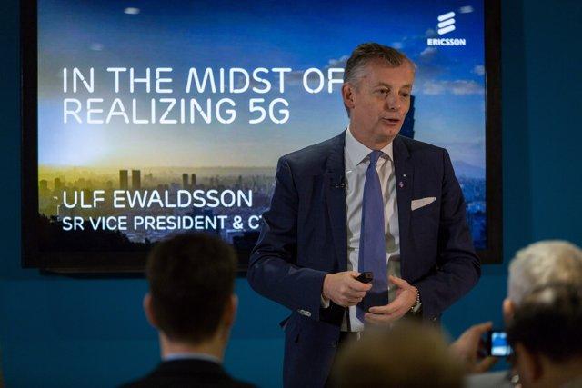 El director tecnológico de Ericsson, Ulf Ewaldsson, en el Mobile World Congress