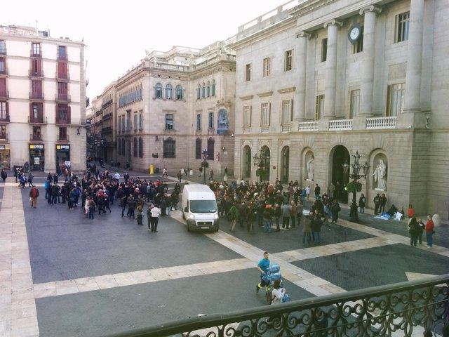Manifestación de trabajadores del Metro de Barcelona