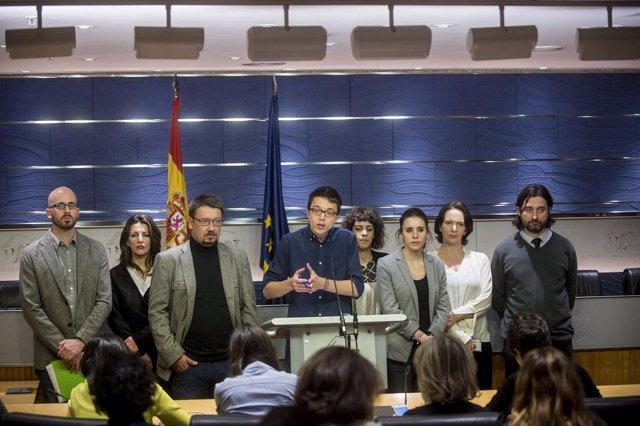 Iñigo Errejón y el equipo negociador de Podemos