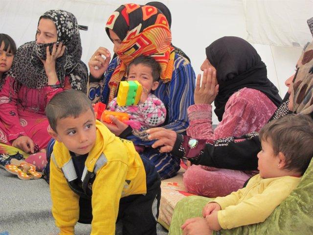 Niño sirio refugiado en Líbano