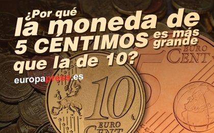 ¿Por qué la moneda de 5 céntimos es más grande que la de 10?