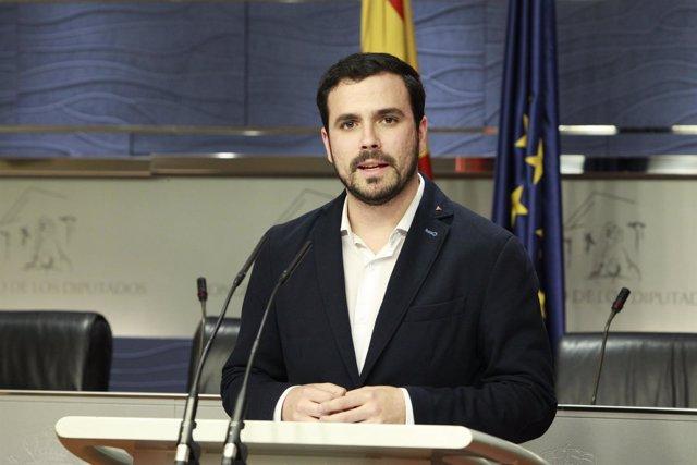 Rueda de prensa de Alberto Garzón tras reunirse con Pablo Iglesias