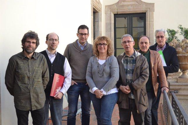 Los responsables de 'Ovidi simfònic' durante la presentación del espectáculo