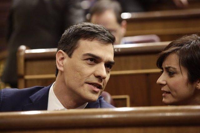 Pedro Sánchez, en un momento del debate de su investidura