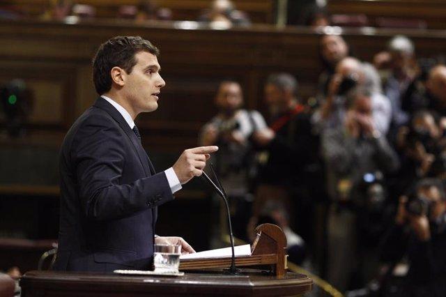 Albert Rivera, presidente de Ciudadanos, en el debate de investidura