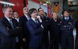 El presidente Puigdemont ha visitado las obras del parque de bomberos de Alp