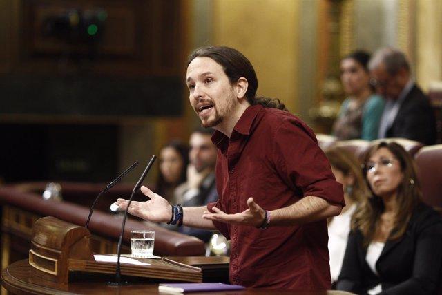 Pablo Iglesias en la segunda sesión de investidura de Sánchez