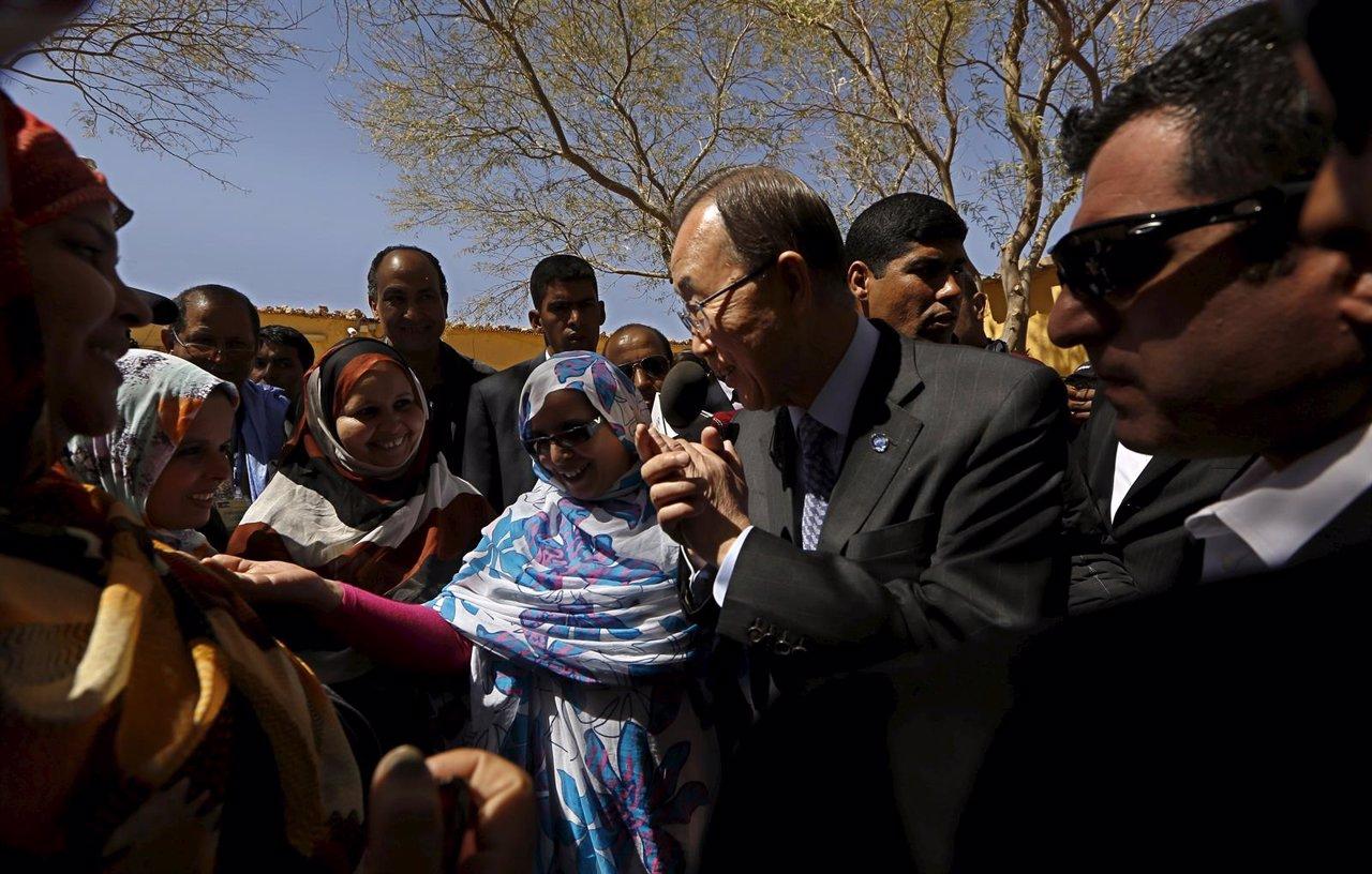Ban Ki Moon en los campamentos de refugiados saharuais de Tinduf