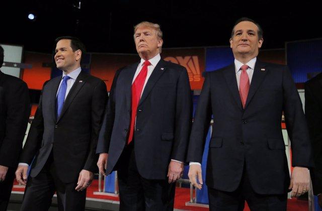 Marco Rubio, Donald Trump y Ted Cruz