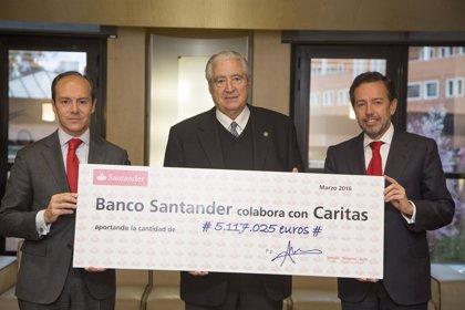 Un fondo ético del Banco Santander entrega 5 millones de euros a Cáritas