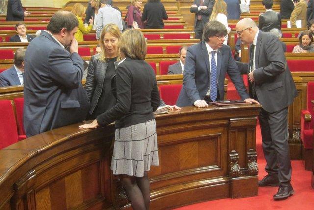 Oriol Junqueras, Neus Munté, Carme Forcadell, Carles Puigdemont, Lluís Corominas