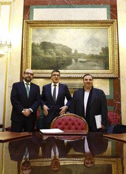 El presidente del Congreso, Patxi López, se reúne con Miguel Borra