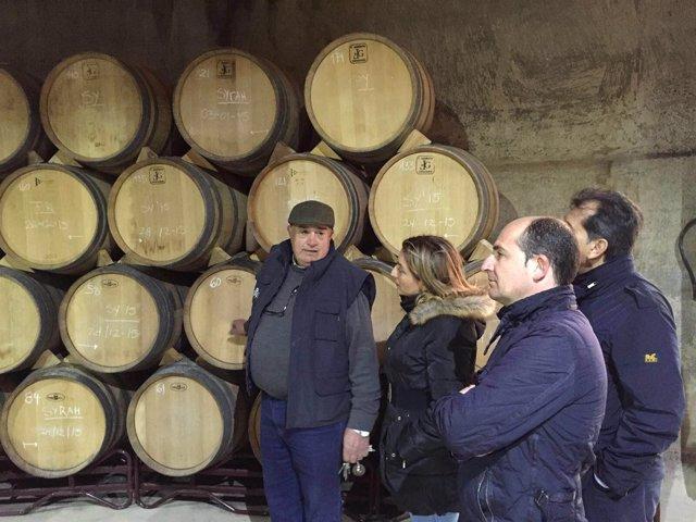 La diputada de Agricultura visitando unas bodegas de Almería.