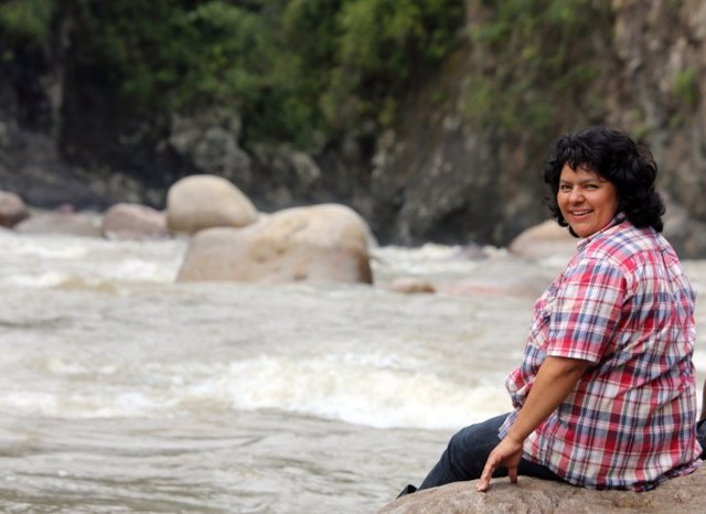 Berta Caceres stands at the Gualcarque River in the Rio Blanco region of western