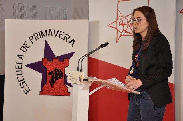 La secretaria regional de JJSS en un acto en Palencia