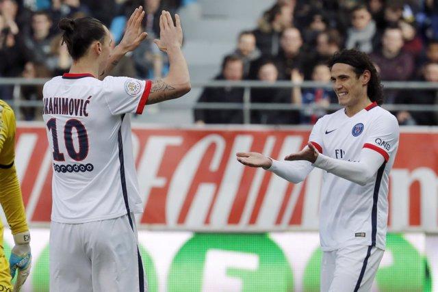 Zlatan Ibrahimovic Edinson Cavani Paris Saint-Germain Troyes
