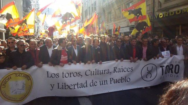 Manifestación en defensa de la tauromaquia en Valencia