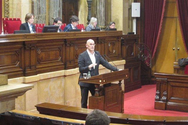 Raül Romeva, en el Parlament
