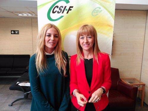 La presidenta del Observatorio del CGPJ, Angeles Carmona, y Marian Mur de CSIF