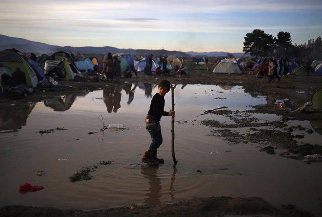 Refugiados en la zona de Idomeni, en la frontera entre Grecia y Macedonia