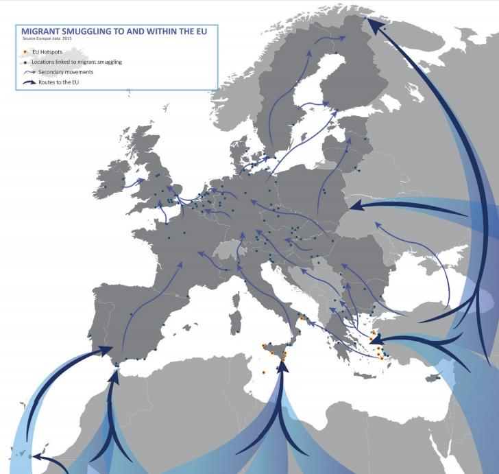Rutas de tráfico de humanos