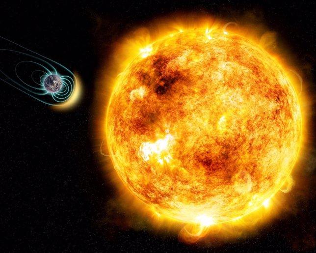 Estrella como el sol joven y planeta con campo magnético