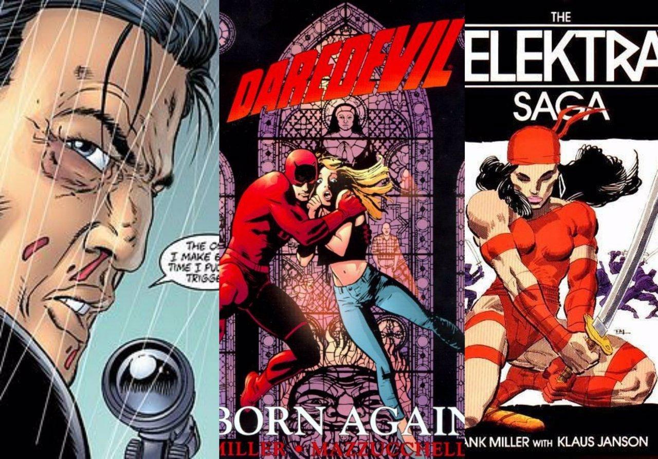 Portadas de cómics de Daredevil, The Punisher y Elektra