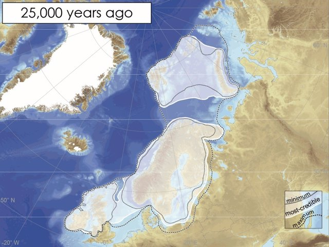 La capa de hielo hace 25.000 años