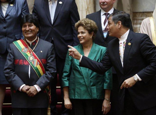 Rafael Correa, Evo Morales y Dilma Rousseff