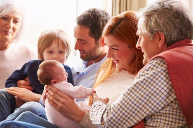 Familia, recién nacido, bebé