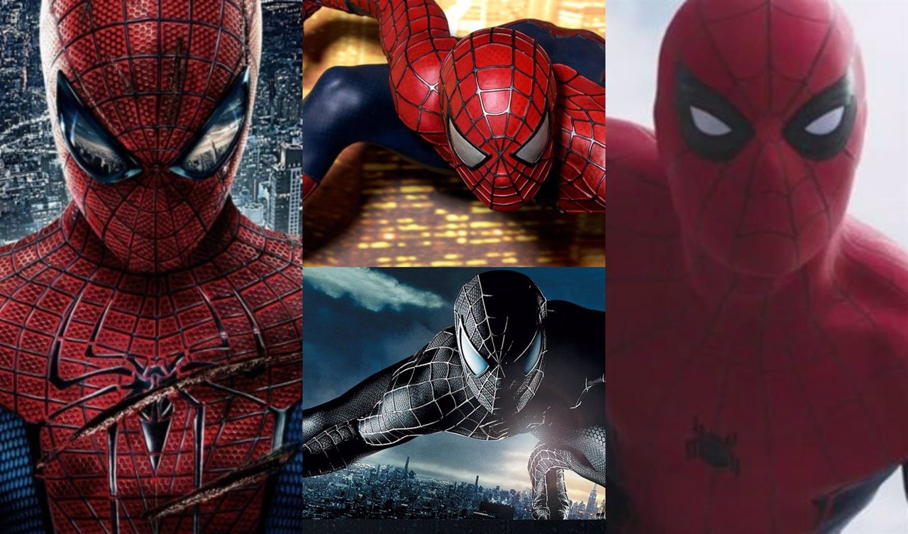 Collage distintos trajes de Spiderman