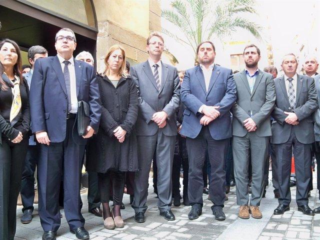 Consellers J.Jané, N.Munté, O.Junqueras, A.Comín; alcalde de Tortosa Ferran Bel