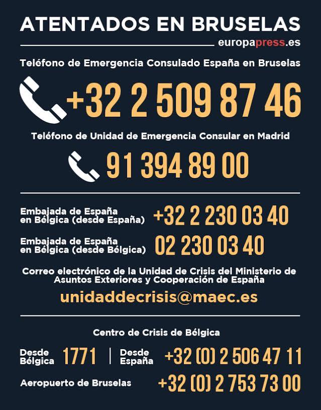 Números teléfono atentados de Bruselas