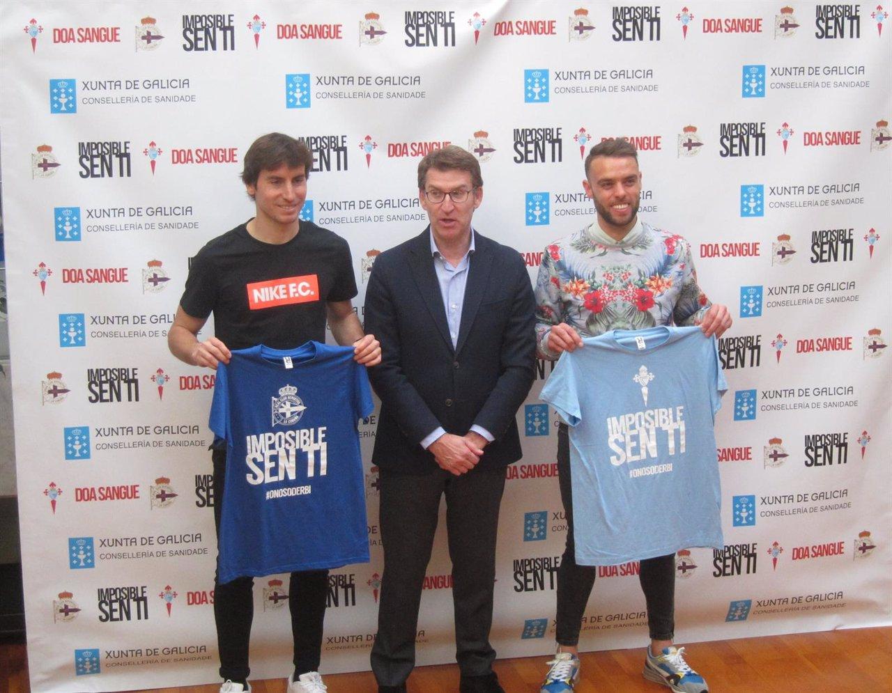Pedro Mosquera (Dépor), Feijóo y Sergio Álvarez (Celta) animan a donar sangre