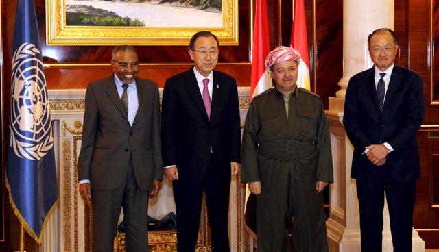 Ban Ki Moon en Erbil junto a presidentes de Erbil BM y Banco Islámico Desarrollo