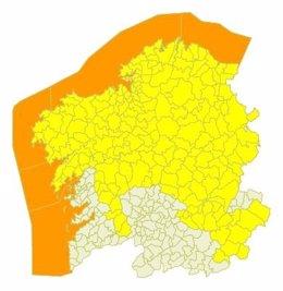 Mapa de las incidencias meteorológicas para este domingo en Galicia