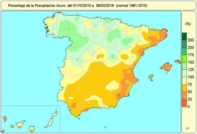 Lluvias acumuladas desde el 1 de octubre de 2015 al 8 de marzo de 2016